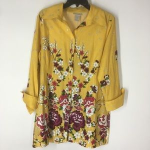 Soft surroundings large yellow floral button front